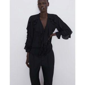 Zara black frill blouse